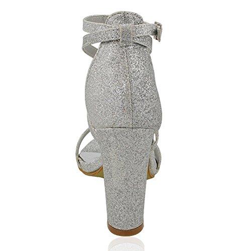 ESSEX GLAM Sandalo Donna Cinturino alla Caviglia Tacco a Blocco Fibbia Festa Argento Glitter
