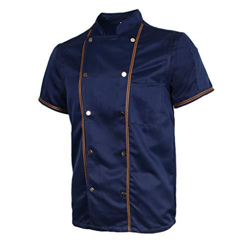 F Fityle Kurzarm Kochjacke Bäckerjacke Chef Jacke Restaurant Koch Arbeitskleidung Gastro Kochbekleidung für Männer Frauen - Schwarz, L