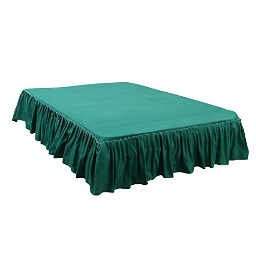 ZCHXD Bed Skirt Brushed Polyester Pleated Styling, with 14 Inch Drop Green Twin Size Pleated Drop