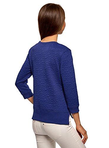 oodji Ultra Femme Sweat-Shirt en Tissu Texturé et Manche 3/4 Bleu (7501N)