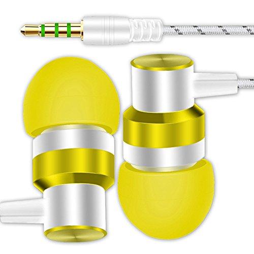 TAOtTAO Mehrere Farben zur Auswahl Subwoofer In-Ear-Kopfhörer Universal 3,5 mm In-Ear-Stereo-Ohrhörer Kopfhörer für Handy (Gelb)