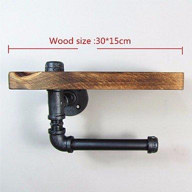 CU@EY Style urbain industriel Tuyau en acier galvanisé bois papier pour WC Salle de bains sèche-serviettes Papier Ttoilet Rrack,-J011