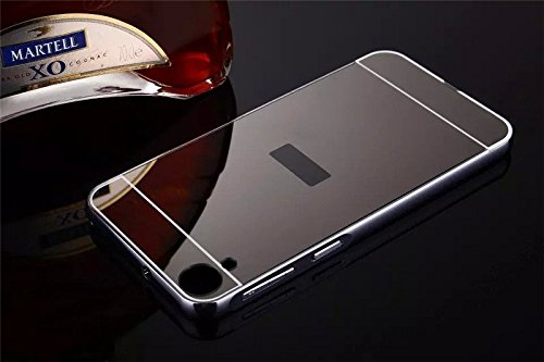 AEMA (TM) Luxury Metal Bumper + Acrylic Mirror Back Cover Case For HTC DESIRE 820 GREY
