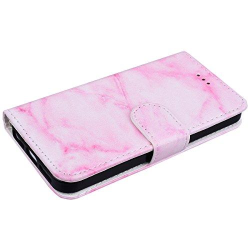 WE LOVE CASE iPhone SE / 5 / 5S Schutzhülle iPhone SE Hülle , iPhone 5S / 5 Lederhülle Im Elegant Weiß Marmor Muster Tasche Handytasche Backcover Stoßfest Protective Bumper Case Cover Brieftasche Kart Rosa Marmor