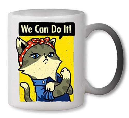 PasTomka We Can Do It Purrsist Cat Heat Colour Changing Mug Cup Café Vaso