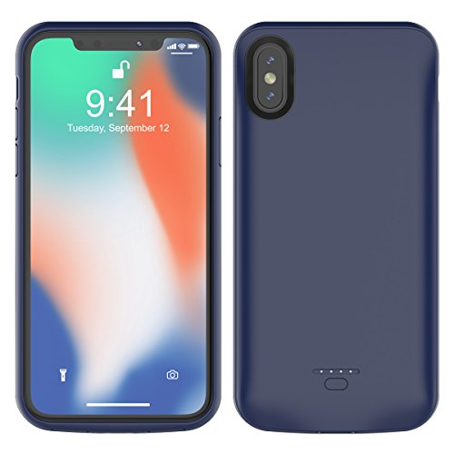 Casefirst for iPhone X Battery Battery Case Slim Rechargable Shock Absorbing Battery Backup Phone case for iPhone X Battery Charger Case Protective Juice Power Bank - Blue Rechargable Backup-batterie