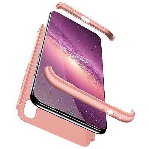 Xiaomi Redmi Note 7 Hülle, Hülle mit [Bildschirmschutz] 3-In-1 Hart PC Ultra Dünn Handyhülle 360° Stoßfest Anti-Kratzer Schutzhülle Schutz Tasche für Xiaomi Redmi Note 7-Rosa Gold