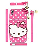 Mezmo 3D Cute Hello Kitty Silicone with Pendant Back Case Cover for HTC Desire 728