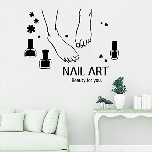 zhuziji Manicure per Nail Art Decalcomania da Muro Salone di Bellezza Nail Stylist Vinile Adesivi Muraux Decorazioni per la casa Decorazione per finestre Decorazione per pareti94,5x73,5 cm