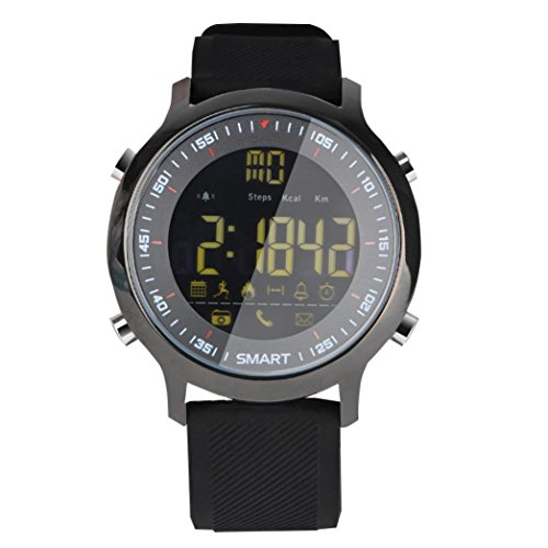 Ansenesna EX18 Smartwatch Sport Bluetooth 5ATM wasserdichte Uhr Fitness Tracker Radsport Schlafanalyse Puls GPS Armbanduhr (Schwarz)