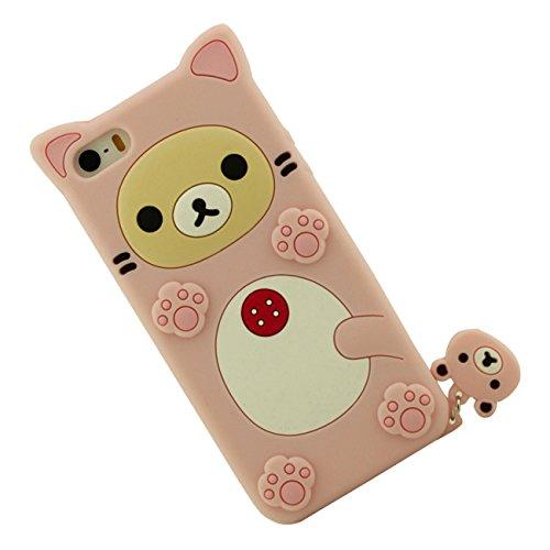 Apple Schutzhülle für iPhone SE / iPhone 5 5S 5G Hülle ( Pink ), Tier Cartoon Stil Original Design Niedlich 3D Bär Slikon Gel Weich Case + Silikon Halter pink