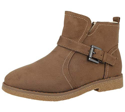 Ladies Cushion Walk Lotti Faux Suede Buckle Detail Warm Faux Fur Sheepskin Lined Flat Chelsea Ankle Boots Size 3-8