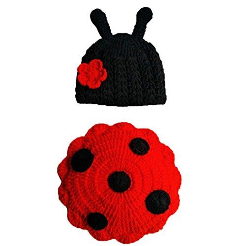 Cinnamou Disfraz de animales suave infantil hecho a mano de punto de lana recién nacido del ganchillo del escarabajo fotografía apoya la juguetes disfraces ropa del bebé 3 años