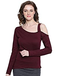 5358b98ed4f041 The Dry State Women s Cotton Burgundy One Sided Cold Shoulder Top