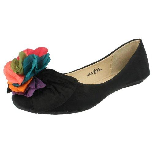 Mesdames Mise à jour sur antidérapant Ballerine Chaussures Noir