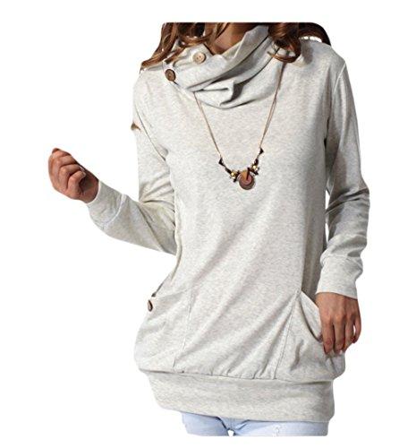 Auspicious beginning Moda Manica Lunga da Donna Botton Collo AD Anello Camicetta Casuale con Pocket Bianco