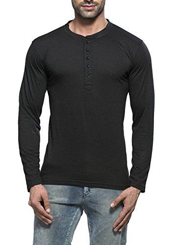 Alan Jones Clothing Men's Cotton Henley Solid T-Shirt (Black,XXL)