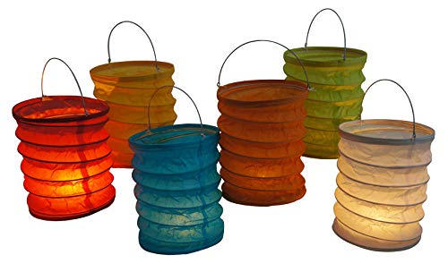 Haus&Tempel Papier Lampions 12er Set, 12cm x 15cm mit Metallbügel und Aluschale für Teelichter, Papierlampions Tisch und zum Aufhängen in den Farben rot, weiß, pink, grün, orange blau