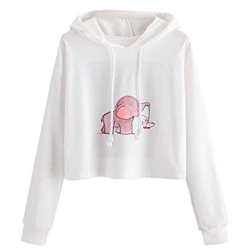 WOCACHI Hoodies, Damen Panda gedruckt Langarm Patchwork Crop Bluse Sweatshirt ... (Weiß, M/36)