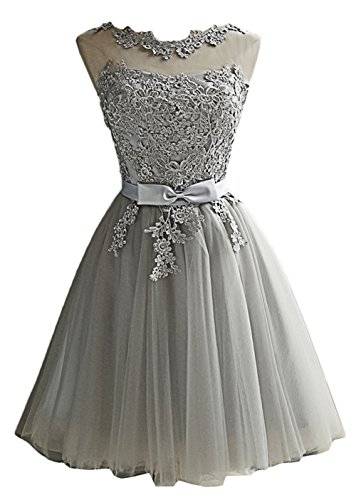 Scothen Damen Brautjungfern kleid Festliches Kleid Hochzeitsfeier Ballkleid Sheer Rock Perlstickerei Applikationen Tüll Abiball Kleider A-Linie Rundhals Perlstickerei Cocktailkleider Partykleid Etikett 2XL/EU 42 (Hülse Sheer Halbe Damen)