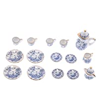 1/12 Scale Ceramic Tea Coffee Set Pot Cup Saucer Plate Dollhouse Tableware Room Items Blue & White