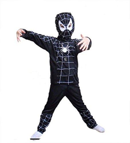 Halloween Karneval Spinnen Netz Anzug Kostüm Spiderman Kinder Schwarz (6-8 Jahre)