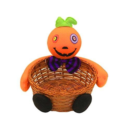 en-Süßigkeits-Speicher-Kürbis-Geist-Puppe-Bambuskorb-Schüssel für Party-Dekoration (Kürbis) (Kürbis-party Dekorationen)