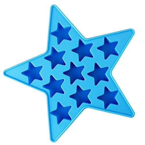 MagiDeal Mini Herzform Sternform Eiswürfel Schokoladen Gießform Ausstechform Backform Spaß Spielzeug für Kinder - Blau Stern