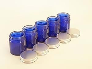 Bocal verre bleu 30ml avec couvercle aluminium (lot X5) - Convient pour aromathérapie, crèmes, gels, sérums, cire, onguents, premiers soins, etc