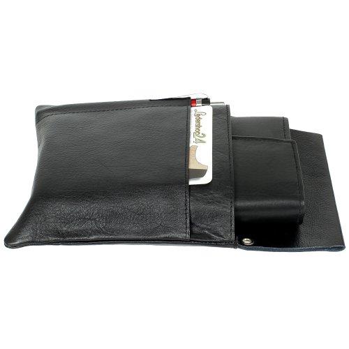 LMI - Funda de piel genuina para garzones, incluye monedero, color negro