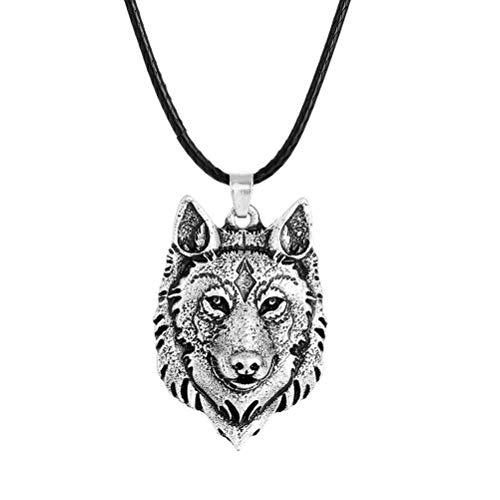 7thLake Tibetischen Silber Wolf Kopf Anhänger Halskette Amulett Tier Viking Männer Geschenk Schmuck