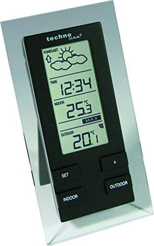 Technoline WS 9215-IT filigrane Wetterstation mit Vorhersage von Wettersituation, Anzeige von Wettertendenz und Innen und Außentemperatur, transparent-schwarz, 8,3...