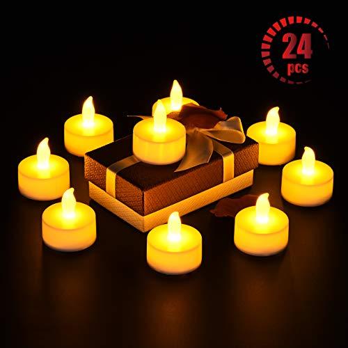 OMORC ❆LED Teelicht Kerzen 24 Kerzen elektrisch groß, Weihnachtsbaumschmuck Teelichter-Kerzen für Ostern, Party, Bar, Hochzeit, Festival, Innen/Außen Deko [A-Warm Gelb; Flammenlos; Batterien] (Gibt Halloween Es Warum)