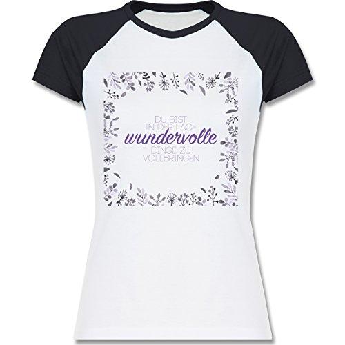 Statement Shirts - Inspirierende Zitate - Du kannst wundervolle Dinge - zweifarbiges Baseballshirt / Raglan T-Shirt für Damen Weiß/Navy Blau
