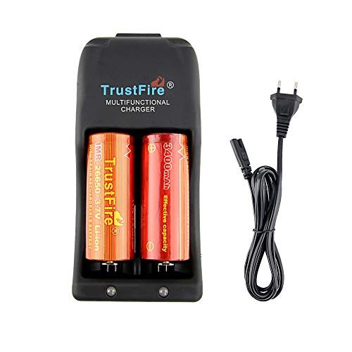 TrustFire TR-006 Akku Ladegerät Batterie Akkuladegerät aufladbar - 2 Slots für Li-Ion IMR LiFePO4 10440 14500 16340 17670 18500 18650 25500 26650 Lithium-Batterien, AC 100-240 V/5,5mm DC 12V Ausgang - Lithium-batterie-ladegerät Cr2