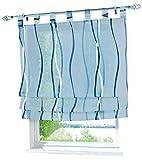 BAILEY JO Raffrollo mit Farbigen Wellen Druck Rollos Schlaufen Voile Vorhang (BxH 120x140cm, Blau)