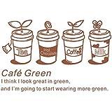 Crjzty Cafetería Calcomanía de Pared Tazas de café Palabras de café Letras Arte Mural Etiqueta de