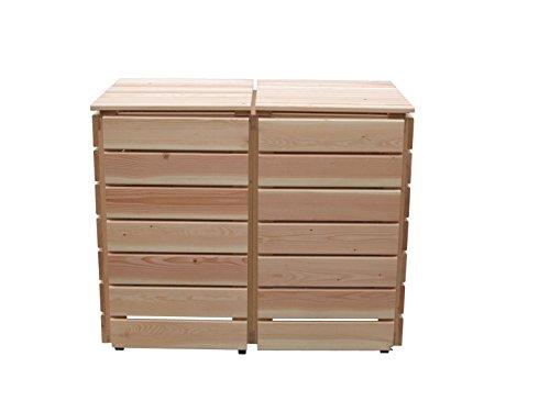 Abfalltonnenverkleidung Holz, Modell Bilmer, für zwei 240 Liter Mülltonnen - 2