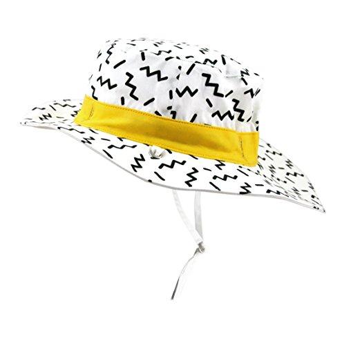 Ki ET LA Gorro Reversible 100% Anti UV Chapeau De Cowboy, Zigzag Blanc, 50-52 cm Bébé garçon