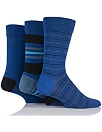 64e9b9636 Mens 3 Pair SockShop Comfort Cuff Bamboo Striped and Plain Socks