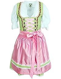 Alpenmärchen, 3tlg. Dirndl-Set - Trachtenkleid, Bluse, Schürze, Gr.32-46, verschiedene Farben