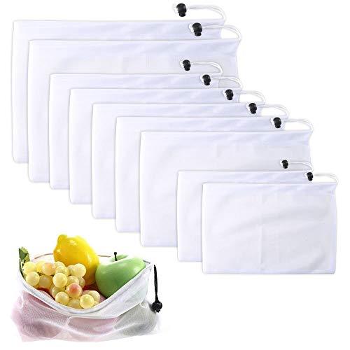 ETSAMOR Wäschenetz 9 Pcs Netztasche mit Zugkordel Wiederverwendbare Netzbeutel Feines Netz Wäschebeutel für Waschmaschine Gemüse Obst (2 * L, 2*S, 5 * M)