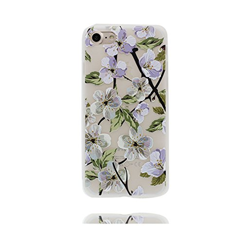 Custodia iPhone 6 Plus, ( Cartoon Rabbit coniglio fiore ) Silicone trasparente iPhone 6S Case iPhone 6s Plus copertura Cover 5.5 e ring supporto Shell Graffi Resistenti Color - 3