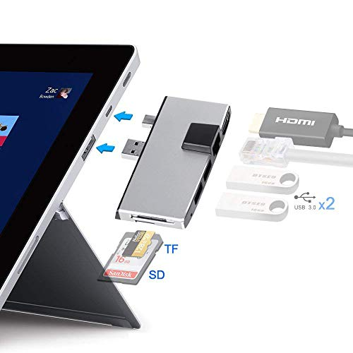 Surface Pro Adapter, Surface Pro Hub mit SD/TF-Kartenleser Combo Adapter, 4K HDMI Port, Ethernet Anschluss und Dual USB 3.0 Hub Spezial kompatibel Microsoft 2017 Surface Pro/Pro 4