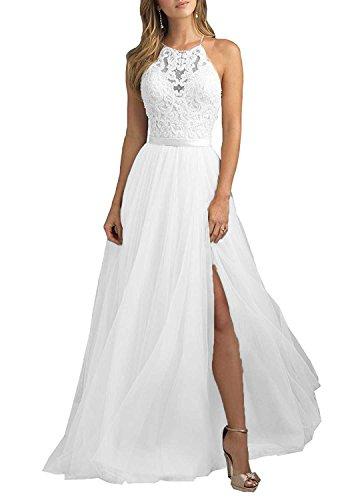 f95a5f2fcf8  Aurora dresses Damen Tüll Ballkleid Abendkleider Elegant für Hochzeit  Spitze Brautjungfer Kleider(Weiß