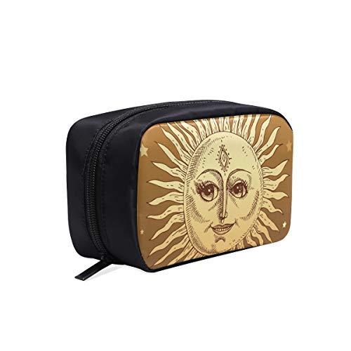 Sonne Gesicht Sunny Icon Zeichen Symbol Tragbare Reise Make-Up Kosmetiktaschen Organizer Multifunktions Fall Kleine Kulturbeutel Für Frauen Und Männer Pinsel Fall -