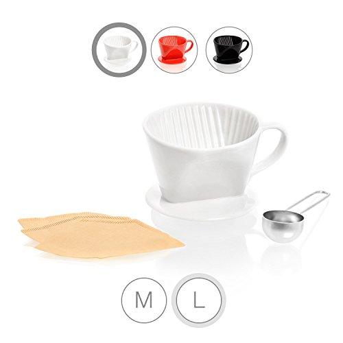 Amazy Porzellan Kaffeefilter inkl. Dosierlöffel und 10 gratis Filtertüten Typ 102 (Größe 4) – Wiederverwendbarer Kaffee Handfilter aus Keramik für handgebrühten, aromatischen Kaffeegenuss (Weiß)