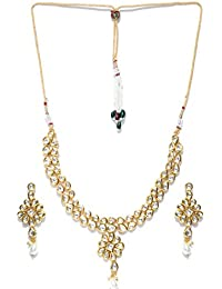 Jewels Galaxy Delicate Kundan Studded Florets Design Attractive Gold Plated Traditional Necklace Set For Women...