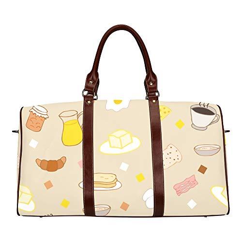Reise-Seesack Tee und Süßigkeiten im Doodle-Stil wasserdichte Weekender-Tasche Reisetasche Damen Damen-Einkaufstasche Mit Mikrofaser-Leder-Gepäcktasche