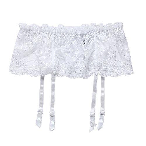 Cszxx Strumpfhalter Damen 4-Strap Lace Strumpfhosen Strapse (Weiß) - 2